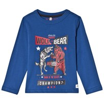Tom Joule Blue Bear Vs Wolf Print Long Sleeve Tee BEAR VS WOLF