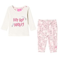 Tom Joule Cream Bunny Tee and Printed Bottoms Set STRIPE BUNNY
