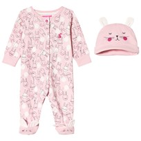 Tom Joule Pink Bunny Print Babygrow and Hat Set ROSE PINK BUNNY