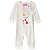 Tom Joule Cream Hare Applique and Glitter Stripe Footless Babygrow REGAL HARE
