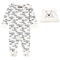 Tom Joule Cream Lions, Tigers and Bears Print Babygrow with Hat CREAM TYPE