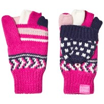 Tom Joule Pink and Navy Fairisle Knit Glittens FAIRISLE