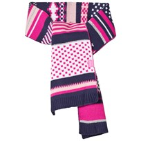 Tom Joule Pink and Navy Fairisle Knit Scarf FAIRISLE