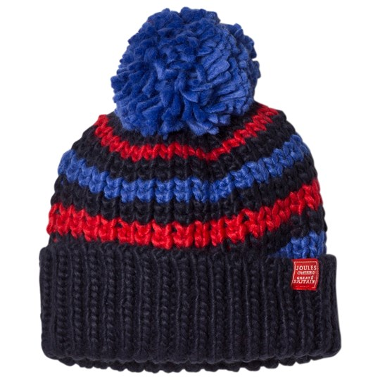 Tom Joule Navy and Red Stripe Knit Bobble Hat French Navy