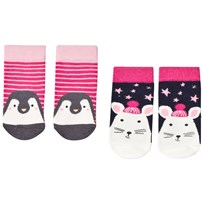 Tom Joule 2 Pack of Pink and Navy Mouse and Penguin Socks Penguin