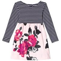 Tom Joule Pink Floral and Navy Stripe Jersey  Dress ROSE PINK FLORAL