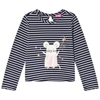 Tom Joule Navy Glitter Mouse Applique Tee FRENCH NAVY STRIPE MOUSE
