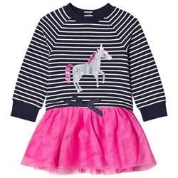 Joules Navy Stripe and Sequin Unicorn with Tutu Skirt Dress