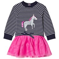 Tom Joule Navy Stripe and Sequin Unicorn with Tutu Skirt Dress FRENCH NAVY STRIPE UNICORN