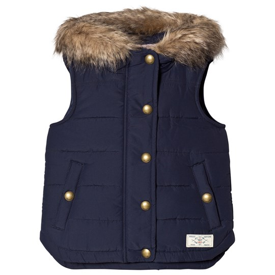 Tom Joule Navy Padded Gilet with Faux Fur Hood French Navy