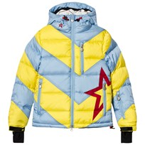 Perfect Moment Pale Blue and Yellow Super Mojo Ski Hooded Jacket Alaska Blue/Citron