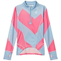 Perfect Moment Blue and Pink Super Thermal Half Zip Ski Fleece Alaska Blue/Peach Pink