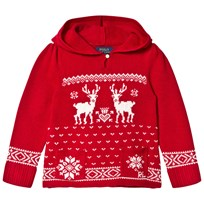 Ralph Lauren Red Reindeer Long Sleeve Hooded Sweater 001