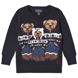 Ralph Lauren Navy Three Bear Knit Jumper