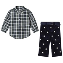 Ralph Lauren Navy Check Shirt and Polar Bear Embroidered Trousers Set XW2FK