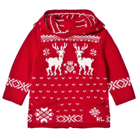 Ralph Lauren Red and Cream Reindeer Hooded Sweater 001