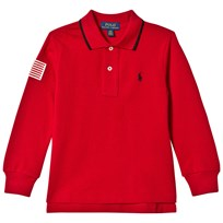 Ralph Lauren Red Pique Polo with Small PP and Flag 002