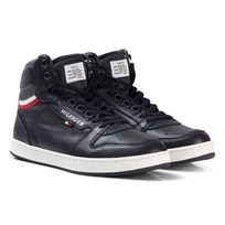 Tommy Hilfiger Navy Branded Lace Leather Trainers 403