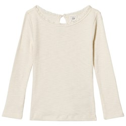 GAP Lace Trim Ribbed Tee Ivory Frost