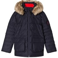 Poivre Blanc Navy Down Padded Ski Jacket with Faux Fur Hood 0059