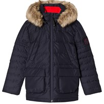 Poivre Blanc Navy Down Ski Jacket with Faux Fur Hood 0059
