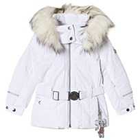 Poivre Blanc White Belted Faux Fur Hood Ski Jacket with Embroidered Back 0001