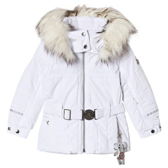 Poivre Blanc White Belted Ski Jacket with Embroidered Back 0001