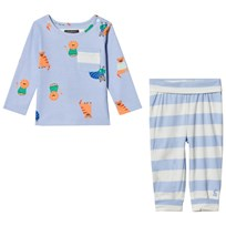 Tom Joule Blue Lion Print Tee and Stripe Bottoms Set SKY BLUE LION