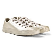 Converse Gold Junior Chuck Taylor All Star Metallic Leather - OX Light Gold