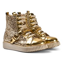 Moschino Kid-Teen Gold and Patent Glitter Branded High Top Boots ORO
