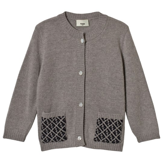 Fendi Grey Cardigan With Branded Pockets