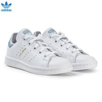 adidas Originals White and Blue Kids Stan Smith Trainers FTWR WHITE/FTWR WHITE/TACTILE BLUE S17