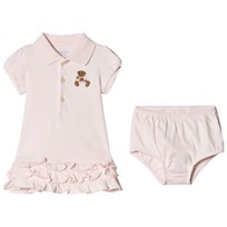 Ralph Lauren Pink Bear Embroidred Short Sleeve Polo Dress Delicate Pink