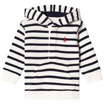 Ralph Lauren White and Navy Stripe Hoody Warm White/Hunter Navy