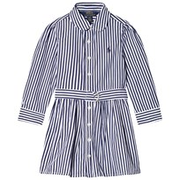 Ralph Lauren Navy and White Stripes Long Sleeve Bengal Dress Navy & White