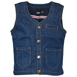 ebbe Kids Kaj Bruket Denim Waistcoat Medium Dark Blue Rinse Wash