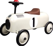 STOY Metal Racer Little, Ivory car with stripes White