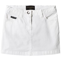Dolce & Gabbana White Branded Cotton Skirt with Tape Logo Pocket W0800