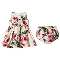 Dolce & Gabbana Pale Pink Rose Print Jersey Dress and Bloomers Set HAH41