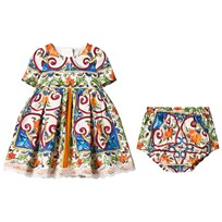 Dolce & Gabbana Majolica Print Cotton and Lace Dress with Bloomers HW681