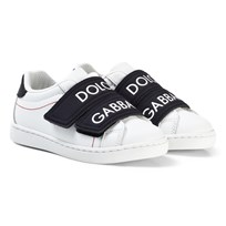 Dolce & Gabbana White and Black Branded Double Velcro Branded Trainers 8B926