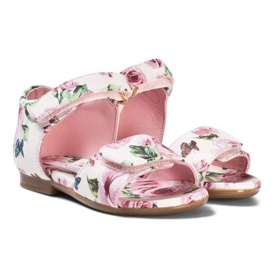 Dolce & Gabbana Pink Floral Bow Sandals HAH41