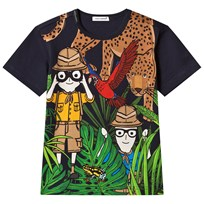 Dolce & Gabbana Navy Dolce and Gabbana Jungle Print Tee HBI99