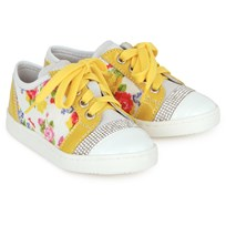 Monnalisa Floral and Patent Suede Trainers Yellow