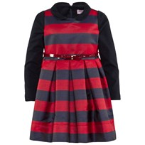 Monnalisa Navy And Red Stripe Pleated Taffeta Dress With Navy Milano Long Sleeve 5643