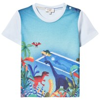 Paul Smith Junior Sky Blue Dinosaur Pool Print Tee 411
