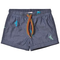 Paul Smith Junior Blue Dinosaur Chambray Shorts 460