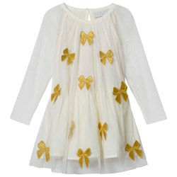 Stella McCartney Kids White Misty Tulle Dress with Gold Bows