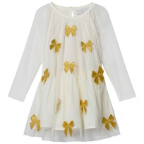 Stella McCartney Kids White Misty Tulle Dress with Gold Bows 9232