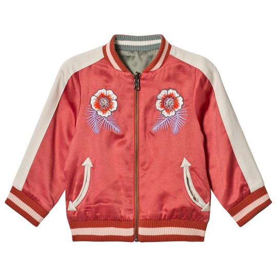 Stella McCartney Kids Pink Willow Embroidered Bomber Jacket Reversible into Green 5960